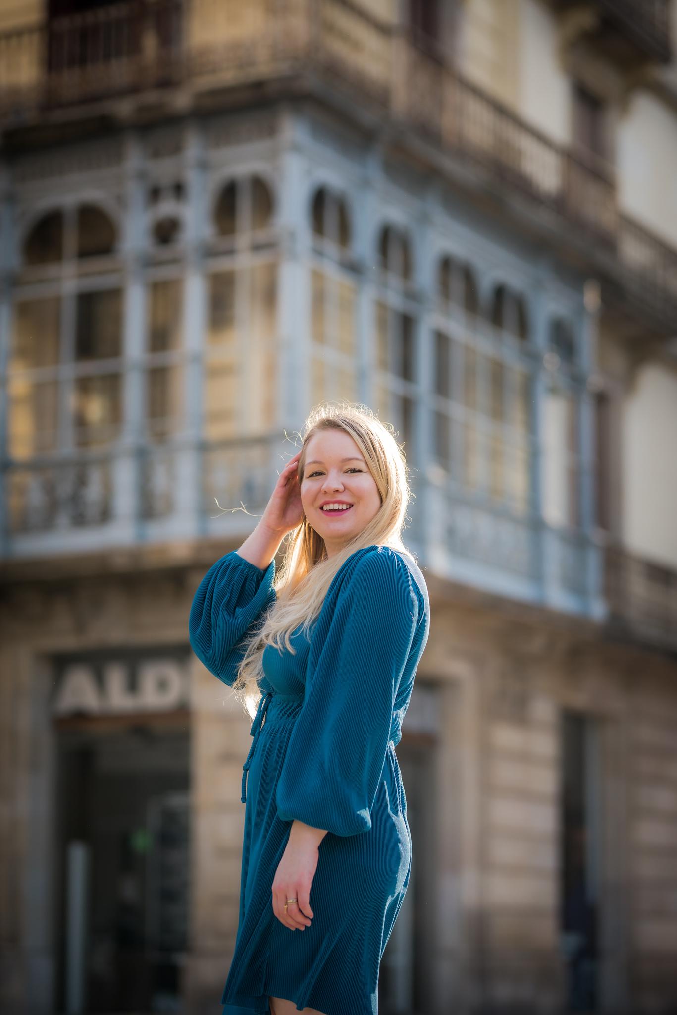 Intrepid Emma smiling in Barcelona